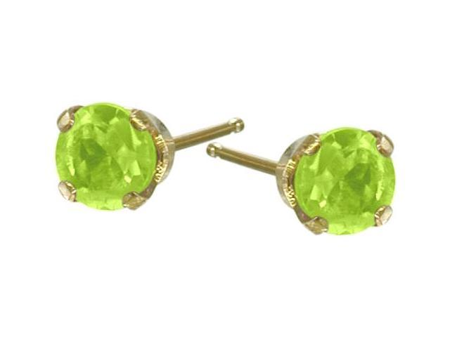 Genuine 2.5mm Peridot 14 Karat Yellow Gold Round Earrings