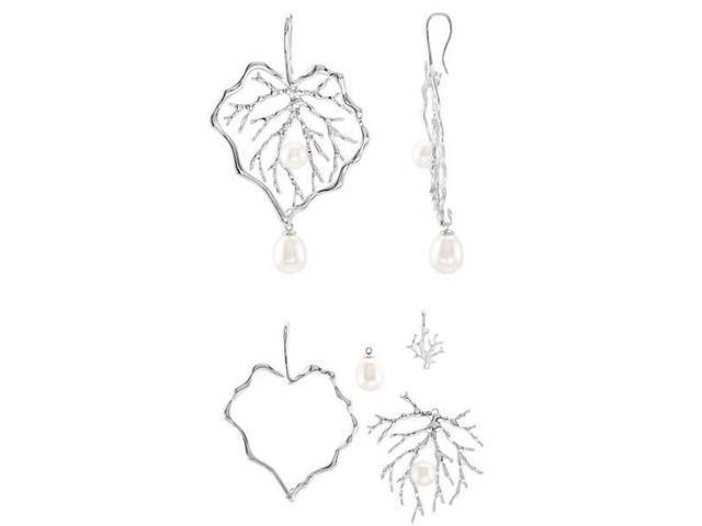 Genuine Sterling Silver White Pearl Interchangeable Earrings