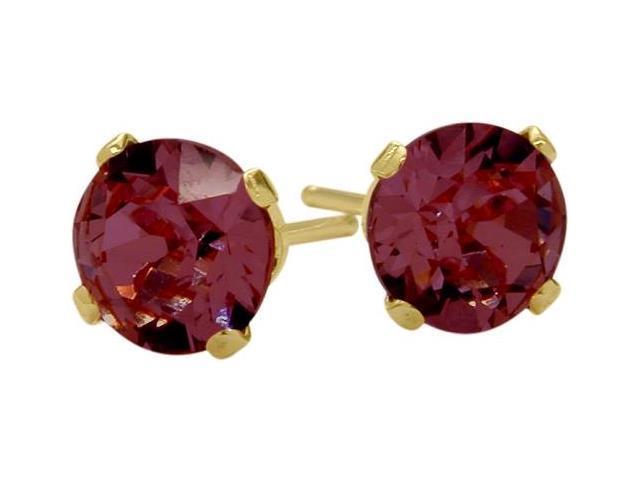 Genuine 4mm Round Rhodolite 14 K Yellow Gold Stud Earrings