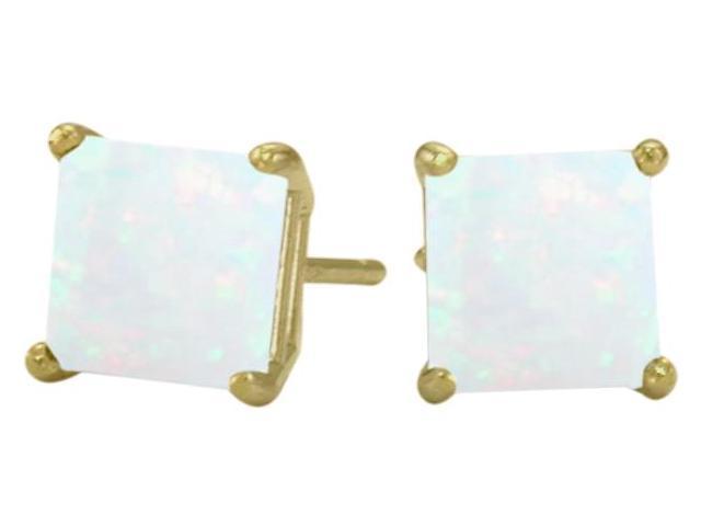 Genuine 5mm Square Princess Cut Opal 14 Karat Yellow Gold Stud Earrings