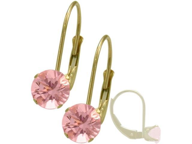 October 10K Yellow Gold 1.70tcw. 5mm Tourmaline Leverback Gem Earrings