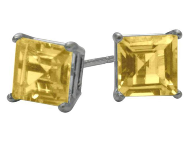 1.20Ct. Genuine 5mm Square Princess Cut Citrine 14 Karat White Gold Stud Earrings