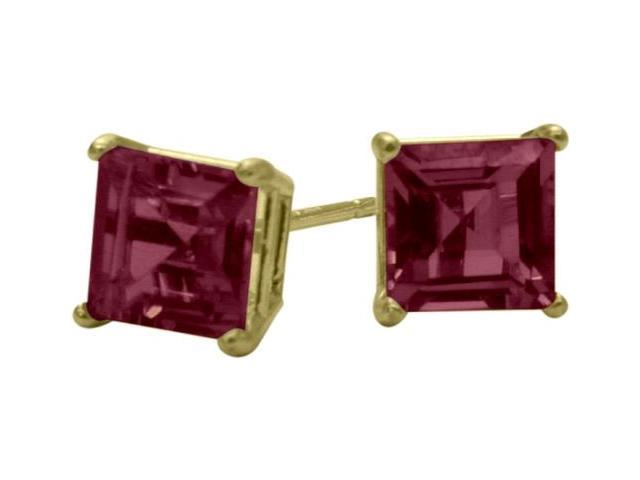 Genuine 4mm Square Princess Rhodolite 14 Karat Yellow Gold Stud Earrings