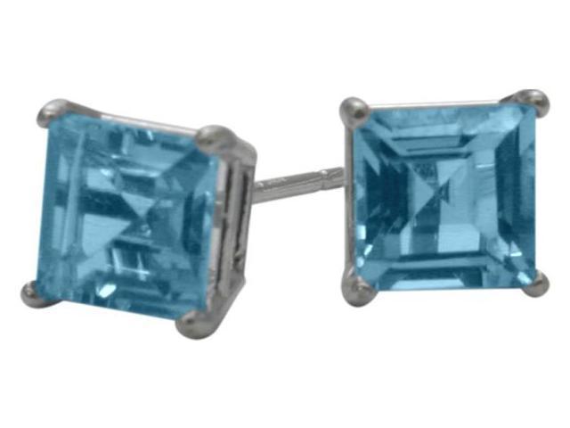 1.55Ct. Genuine 5mm Square Princess Cut Blue Topaz 14 Karat White Gold Stud Earrings
