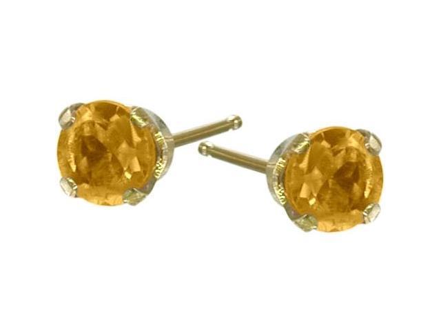 Genuine 2.5mm Citrine 14 Karat Yellow Gold Round Earrings