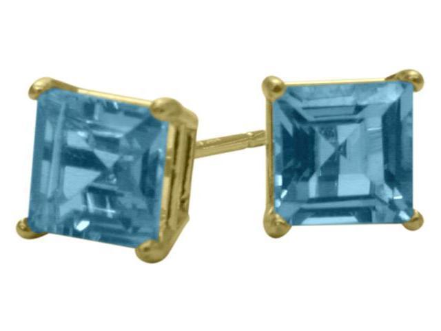 1.55Ct. Genuine 5mm Square Princess Cut Blue Topaz 14 Karat Yellow Gold Stud Earrings