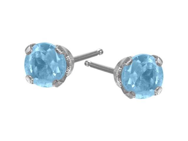 Genuine 2.5mm Blue Topaz 14 Karat White Gold Round Earrings