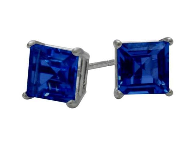 0.84Ct. Created 4mm Square Princess Cut Sapphire 14 Karat White Gold Stud Earrings