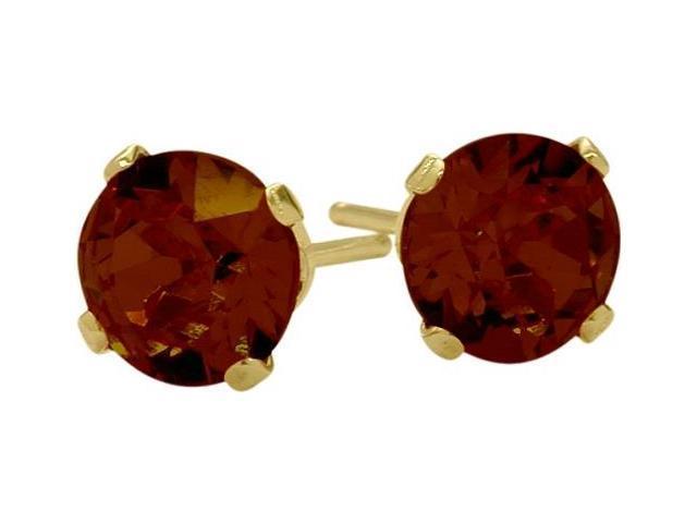 0.65Ct. Genuine 4mm Round Garnet 14 Karat Yellow Gold Stud Earrings