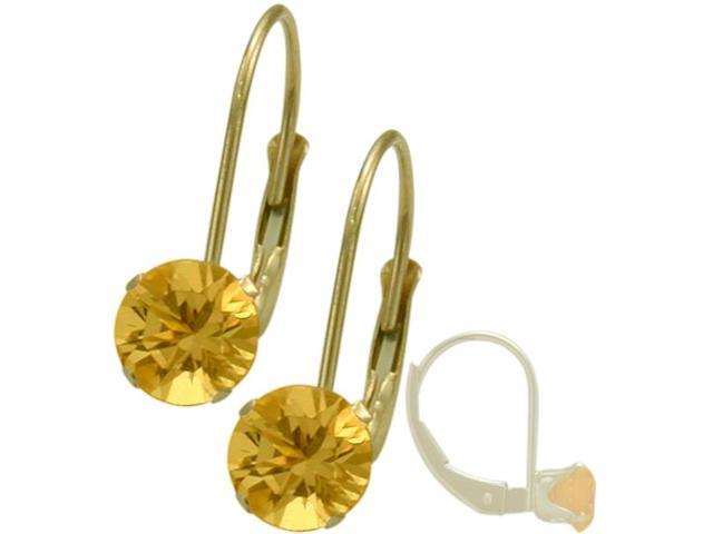 November 14K Yellow Gold 0.80tcw. 5mm Citrine Leverback Gem Earrings