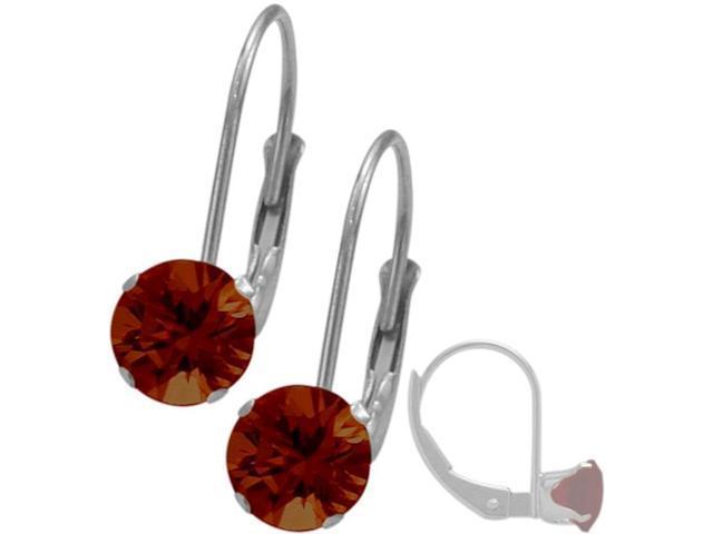 January Sterling Silver 1.14tcw. 5mm Garnet Leverback Gem Earrings