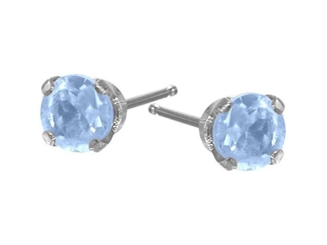 Genuine 0.18tcw 3mm Aquamarine 14 Karat White Gold Baby Earrings