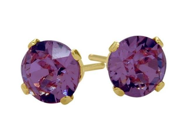 0.48Ct. Genuine 4mm Round Amethyst 14 Karat Yellow Gold Stud Earrings