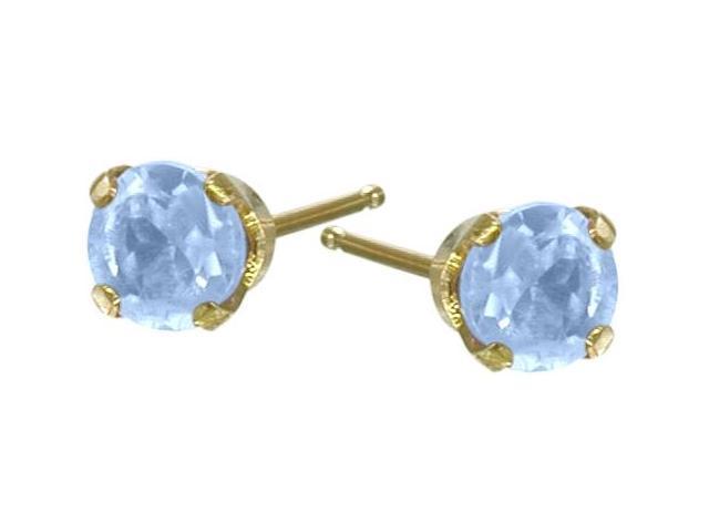 0.18Ct. Genuine 3mm Aquamarine 14 Karat Yellow Gold Round Earrings