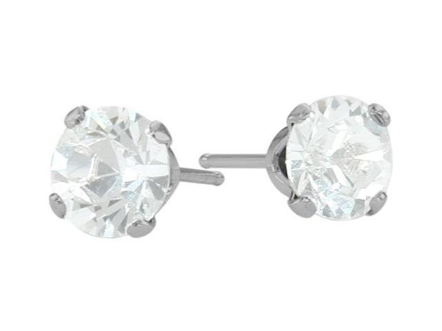 0.65Ct. Genuine 4mm Round White Topaz 14 Karat White Topaz Stud Earrings