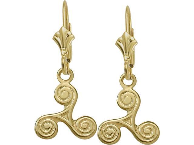 10 Karat Yellow Gold Triskele Celtic Earrings