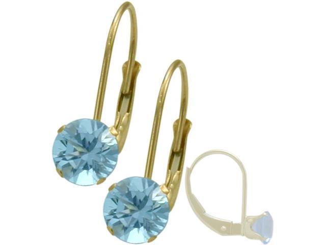 December 14K Yellow Gold 1.10tcw. 5mm Blue Topaz Leverback Gem Earrings