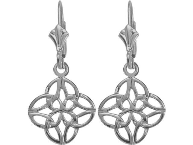 10 Karat White Gold Celtic Knot Earrings