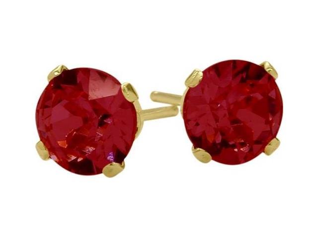 0.70Ct. Genuine 4mm Round Ruby 14 Karat Yellow Gold Stud Earrings