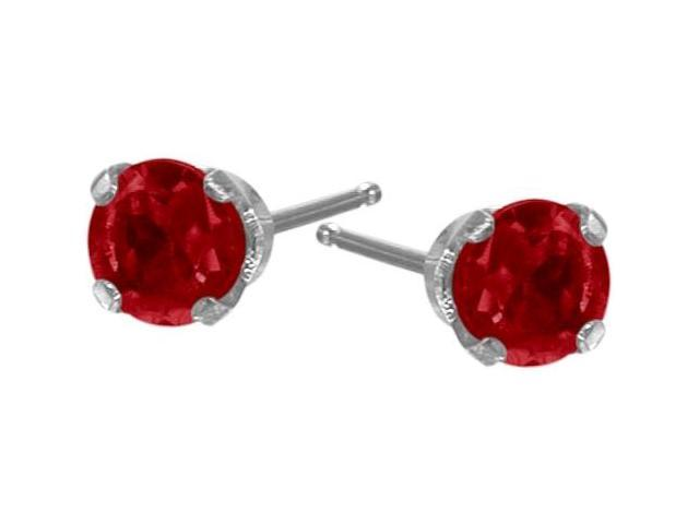 0.30Ct. Genuine 3mm Ruby 14 Karat White Gold Round Earrings