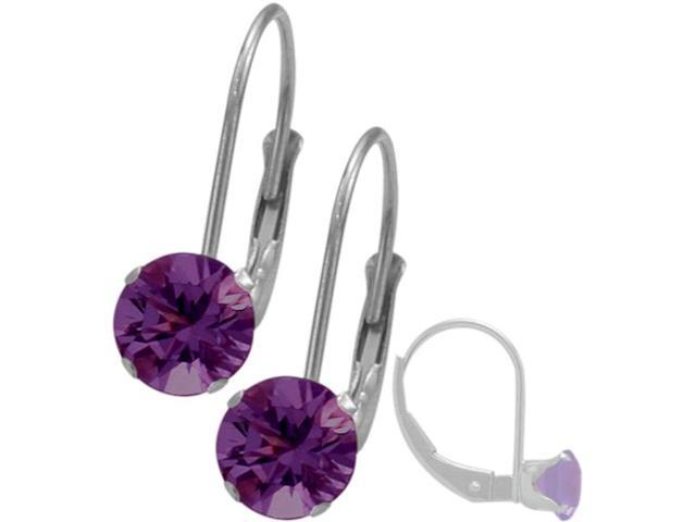 February 14K White Gold 0.90tcw. 5mm Amethyst Leverback Gem Earrings