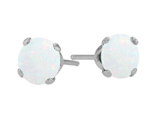 Genuine 4mm Round Opal 14 Karat White Gold Stud Earrings