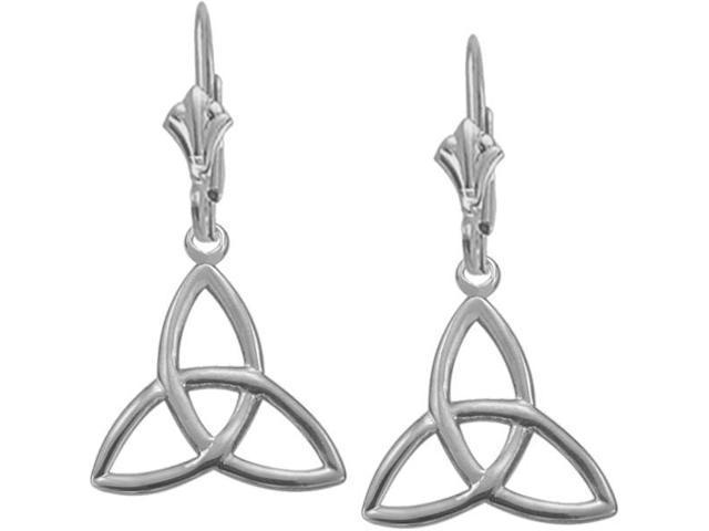 10 Karat White Gold Trinity Knot Earrings