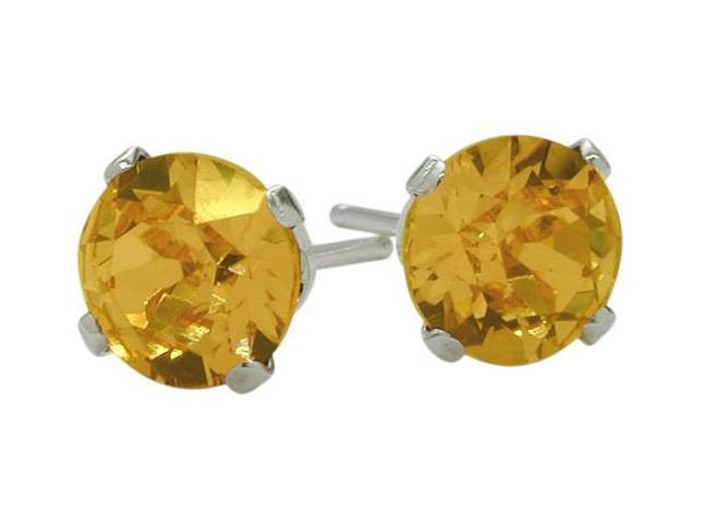 0.80Ct. Genuine 4mm Round Citrine 14 Karat White Gold Stud Earrings