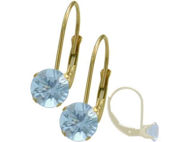 March 14K Yellow Gold 1.10tcw. 5mm Aquamarine Leverback Gem Earrings