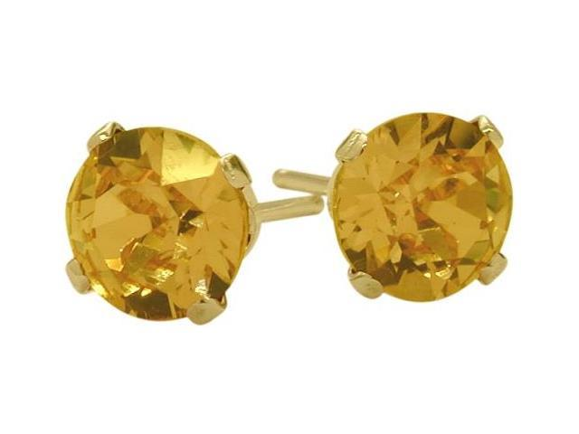 0.80Ct. Genuine 4mm Round Citrine 14 Karat Yellow Gold Stud Earrings