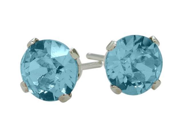 0.50Ct. Genuine 4mm Round Blue Topaz 14 Karat White Gold Stud Earrings