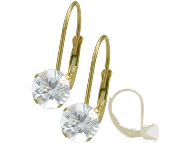 April 10K Yellow Gold 1.10tcw. 5mm White Topaz Zirconia Leverback Gem Earrings