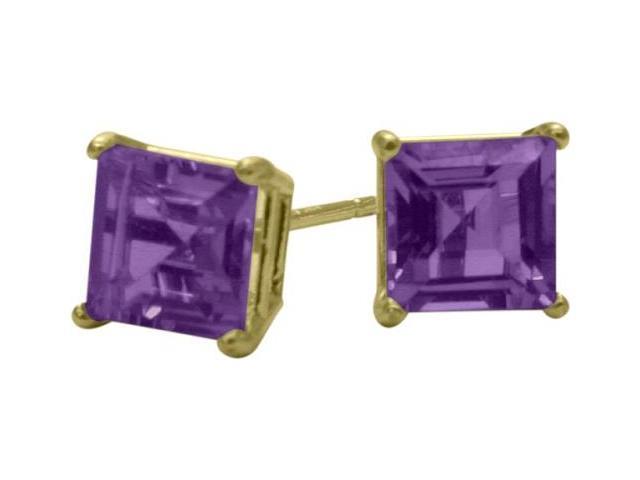 0.65Ct. Genuine 4mm Square Princess Amethyst 14 Karat Yellow Gold Stud Earrings