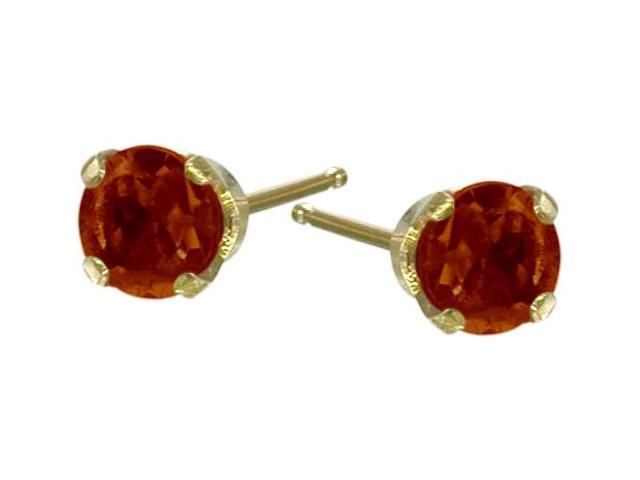 Genuine 2.5mm Garnet 14 Karat Yellow Gold Round Baby Earrings