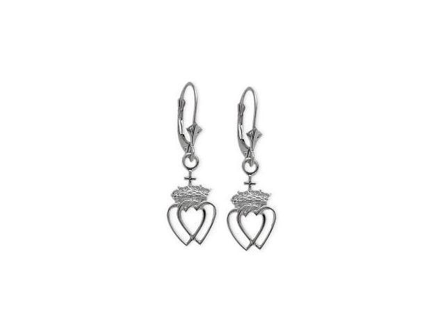 Genuine Sterling Silver Celtic Crowned Heart Earrings