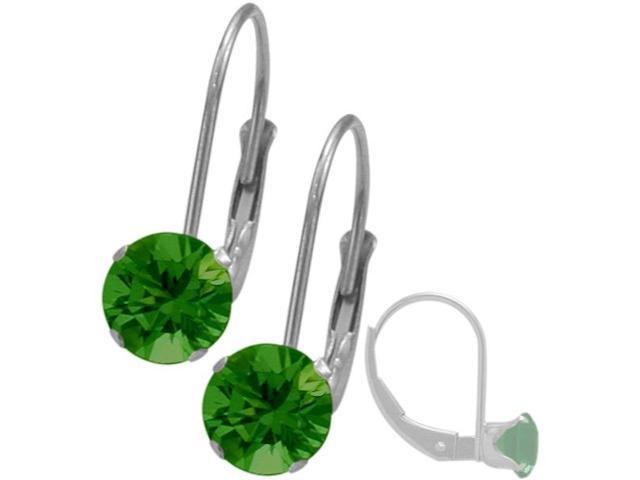 May 10K White Gold 0.90tcw. 5mm Emerald Leverback Gem Earrings