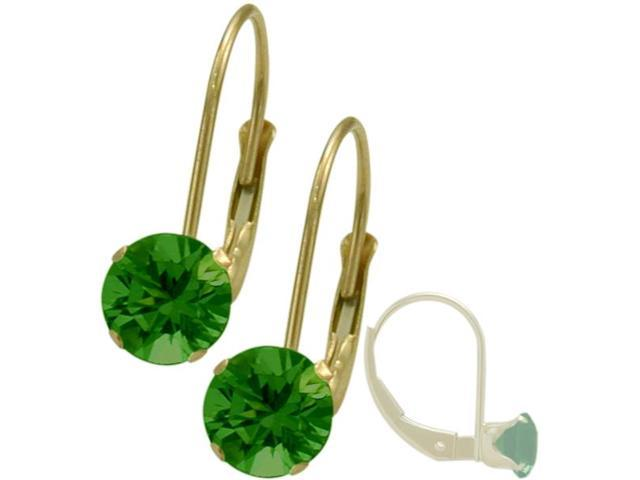May 14K Yellow Gold 0.90tcw. 5mm Emerald Leverback Gem Earrings