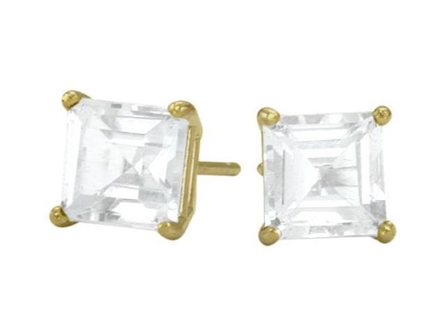 0.84tcw. Genuine 4mm Square Princess White Topaz 14 Karat White Gold Stud Earrings
