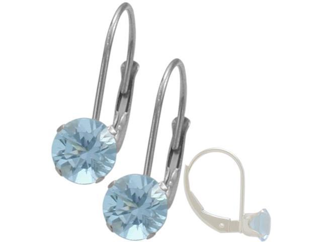 March 10K White Gold 1.10tcw. 5mm Aquamarine Leverback Gem Earrings