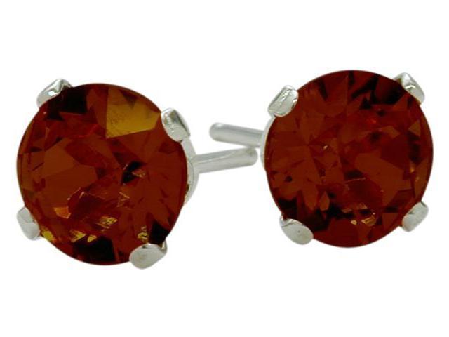 1.10Ct. Genuine 5mm  Round Garnet 14 Karat White Gold Stud Earrings