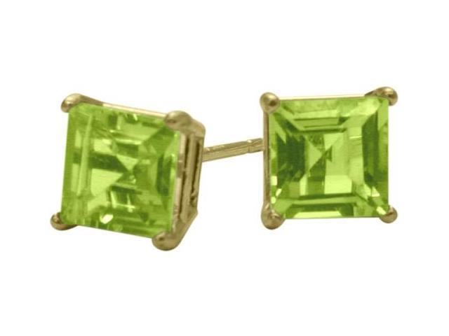 0.75Ct. Genuine 4mm Square Princess Peridot 14 Karat Yellow Gold Stud Earrings