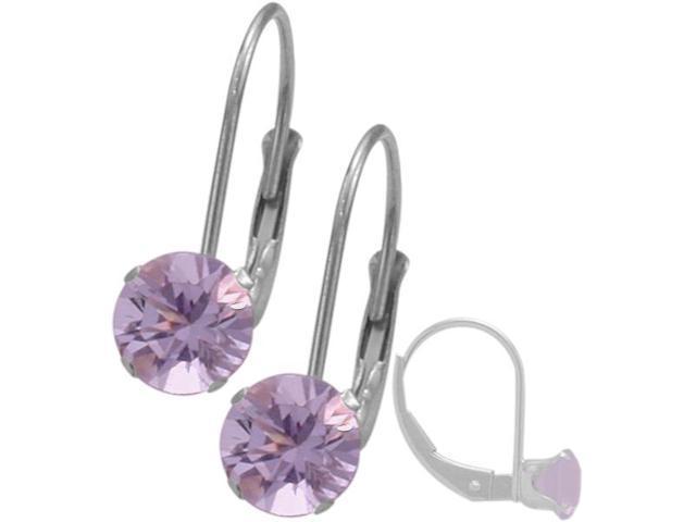 June 10K White Gold 1.14tcw. 5mm Rhodolite Leverback Gem Earrings