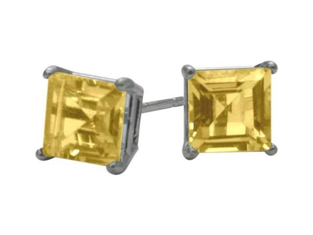 0.65Ct. Genuine 4mm Square Princess Citrine 14 Karat White Gold Stud Earrings