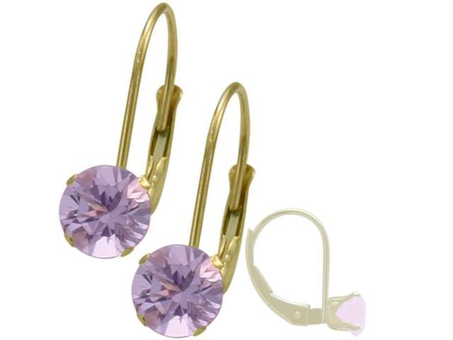 June 14K Yellow Gold 1.14tcw. 5mm Rhodolite Leverback Gem Earrings
