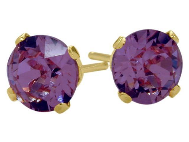 0.90Ct. Genuine 5mm Round Amethyst 14 Karat Yellow Gold Stud Earrings