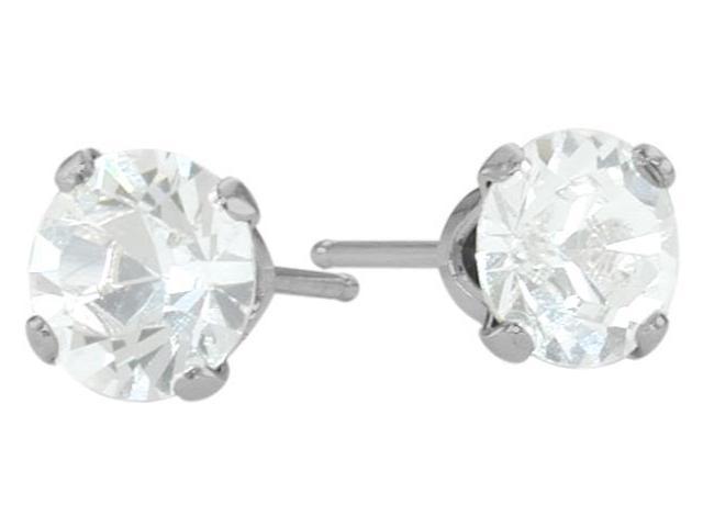 1.10Ct. Genuine 5mm Round White Topaz 14K White Topaz Stud Earrings