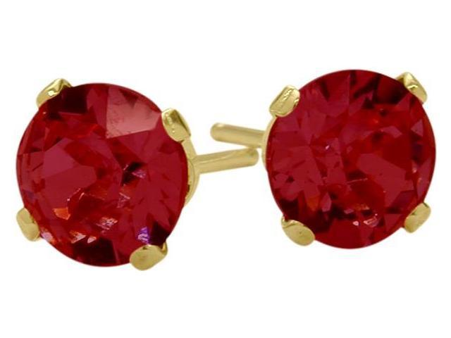 1.00 Ct. Genuine 5mm Round Ruby 14 Karat Yellow Gold Stud Earrings