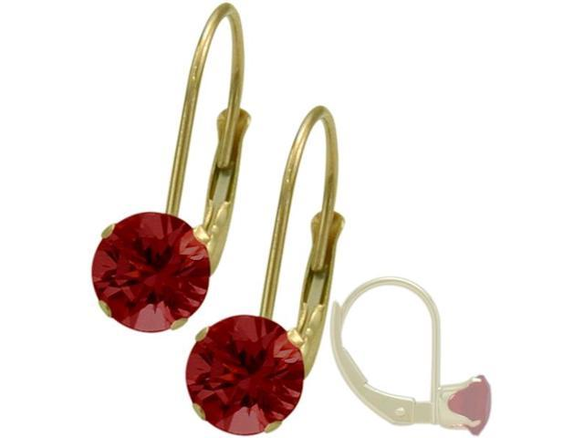 July 14K Yellow Gold 1.10tcw. 5mm Ruby Leverback Gem Earrings