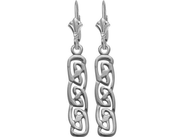 10 Karat White Gold Celtic Earrings