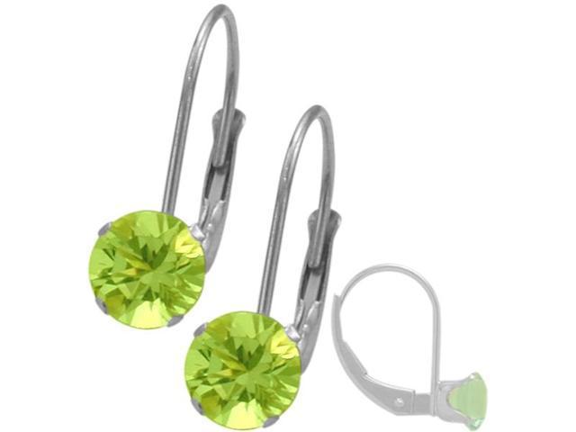 August 14K White Gold 1.00tcw. 5mm Peridot Leverback Gem Earrings